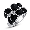 Roxi® Silver Black Rose Ring