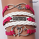 Multilayer Double Heart Alloy Charms Handmade Leather Bracelets