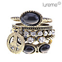Women's Lureme Retro Anti-war signs Crystal Ring Set(5 pieces,Assorted Color)