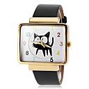 Buy Women's Gold Square Case Cute Cat Pattern PU Band Quartz Wrist Watch (Assorted Colors) Cool Watches Unique Fashion