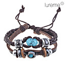 Buy Lureme®Handmade Vintage Multi Strand Blue Amber Bead Charm Leather Wrap Bracelet Jewelry Christmas Gifts