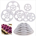6 Pcs Rose Flower Shape Fondant Cake Paste Sugarcraft Decorating Cutter Tools