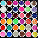36pcs mix kolor czystego proszku brokat cekiny żel uv kolor Paillette