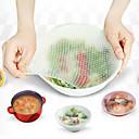 4 streç ve taze yeniden kullanılabilir gıda tamamladı set