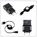 EU-kontakt AC väggladdare med 100cm micro USB-kabel för Samsung s6 / S4 / S3 / s2 htc / lg / Sony