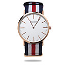 Herre Watch Quartz Moteklokke Stoff Band Armbåndsur / شريط