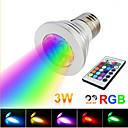 1 stk. E26/E27 3 W 1 Høyeffekts-LED 130 LM RGB Fjernstyrt Spotlys AC 85-265 V