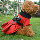 Dog Coat Red Spring/Fall Bowknot