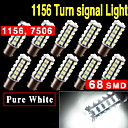 10X 6000K White 1156 BA15S LED 68SMD Light bulbs Tail Backup RV Camper 1141 1003