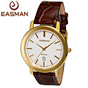 Buy EASMAN Watch Shop Mens Genuine Leather Watches Swiss Quartz Auto Date Sapphire Waterproof Gold Wrist Cool Unique