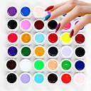 36PCS Soak Off Mixs Pure Solid Color UV Color Gel Phototherapy Glue Nails Qq Barbie Nail(8ml)