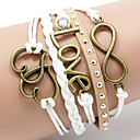 Leather Bracelet Multilayer Alloy Love and Heart Infinite Handmade Bracelet