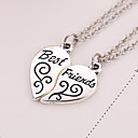 Buy 2pcs/set Women Men Best Friends Silver Plated Necklace Broken Heart Pendant Necklaces Jewelry Gifts