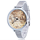 Buy Women/Lady's Gold/Silver Steel Thin Band World Map White Round Case Analog Quartz Fashion Watch