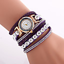 Buy Women's Fashion Watch Wrist watch Bracelet Quartz Colorful Imitation Diamond PU Band Vintage Bohemian Charm Bangle Cool CasualBlack