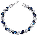 Buy Women's Tennis Bracelet Zircon Cubic Zirconia Copper Gold Plated Fashion Leaf White Red Blue Jewelry 1pc