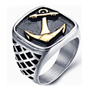 Buy Men's Fashion Vintage Rock Style 316L Titanium Steel Anchor Personality Engraved Jewelry Rings Casual/Daily 1pc