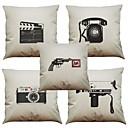 Buy Set 5 Retro Phone Pattern Linen Pillowcase Sofa Home Decor Cushion Cover (18*18inch)