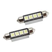42mm 4 * 5050 SMD 백색 LED canbus 자동차 신호 등 (2 팩, DC 12V)