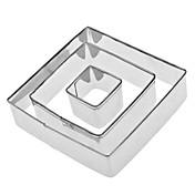 사각형 모양의 스테인리스 쿠키 커터 세트 (3 팩)