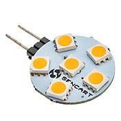 G4 6W 6x5050SMD 60-80LM 3000K 온난 한 공정한 판단 LED 전구 (12V)