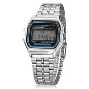 남성 손목 시계 디지털 시계 LCD 달력 크로노그래프 경보 디지털 합금 밴드 실버