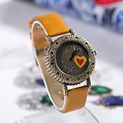 여자의 사랑 심혼 본 둥근 가죽 석영 아날로그 손목 시계
