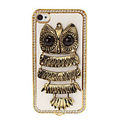 3D Owl Pattern Diamond Encrusted Plating Skinning Hard Case for iPhone 4/4S