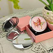 개인 선물 나비 작풍 분홍색 크롬 콤팩트 거울