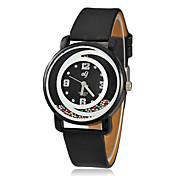 여성의 회전 구슬 둥근 다이얼 PU 밴드 석영 아날로그 손목 시계 (색상 랜덤)