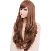 여성 블랙 아마 밝은 브라운 어두운 무늬 허니 브라운 머리 강타와 함께 웨이비 할로윈 가발 카니발 가발