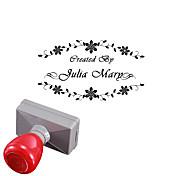 개인 33x63mm 결혼식& 비즈니스 꽃 스타일 2 라인 감광 인장 스탬프가 새겨진 사각형 (10 자 이내)