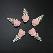 10pcs   Pink Flower Shape IceCream 3D Rhinestone DIY Accessories Nail Art Decoration