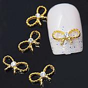 10pcs  Golden Bowknot 3D Alloy Clear Rhinestone  Nail Art Decoration