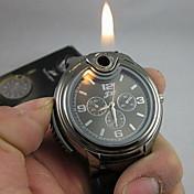 남성 손목 시계 독특한 창조적 인 시계 라이터 석영 실리콘 밴드 블랙