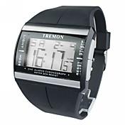 남성 손목 시계 디지털 시계 LCD 달력 크로노그래프 경보 디지털 고무 밴드 블랙
