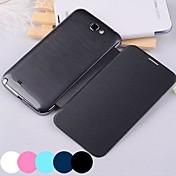 grande color sólido d caso de cuerpo completo de la PU para Samsung Galaxy Note N7100 2