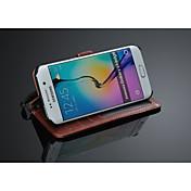 용 삼성 갤럭시 케이스 지갑 / 카드 홀더 / 스탠드 / 플립 케이스 풀 바디 케이스 단색 인조 가죽 Samsung S6 edge