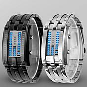 남성 아가씨들 남여공용 손목 시계 디지털 시계 LED 방수 디지털 합금 밴드 럭셔리 블랙 실버