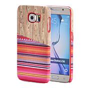 Para Funda Samsung Galaxy Diseños Funda Cubierta Trasera Funda Fibra de Madera Policarbonato Samsung S6