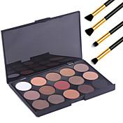 15 Colors  Eyeshadow Palett Professional Warm Makeup Nude Eyeshadow Matte Shimmer Palette Cosmetic+4PCS Pencil Makeup Brush