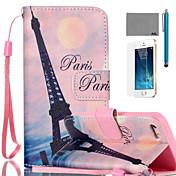 아이폰 5 / 5S에 대한 화면 보호기 및 스타일러스 lexy® 핑크 스카이 에펠 패턴 PU 전신 가죽 케이스
