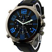 V6 남성 밀리터리 시계 손목 시계 석영 일본 쿼츠 실리콘 밴드 블랙