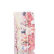 용 아이폰5케이스 지갑 / 카드 홀더 / 스탠드 / 플립 / 패턴 케이스 풀 바디 케이스 고양이 하드 인조 가죽 iPhone SE/5s/5