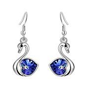 Luxury Drop Earrings for Women Vintage Crystal Swan Drop Earrings Fashion Jewelry Accessories Silver Plated