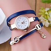 아가씨들 패션 시계 팔찌 시계 석영 가죽 밴드 블랙 화이트 블루 레드 오렌지 그린