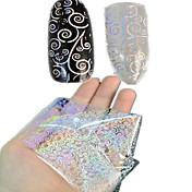 1pcs 100*4CM Transparent Laser Nail Art Transfer Glitter Stickers  DIY Geometric Coins Flower Image Nail Beauty LT01-04