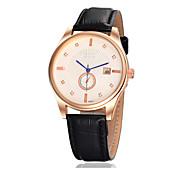 남성 손목 시계 달력 캐쥬얼 시계 에코 드라이브 가죽 밴드 블랙 화이트