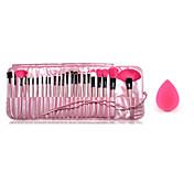 24pcs cepillos del maquillaje mango de madera rubor / bases / polvo / sombra / pincel delineador kit de cosméticos y pequeña esponja de
