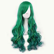 녹색 / 황색 로리 옹 브르 가발 pelucas 상자 때문 천연 합성 가발은 저항 perruque 코스프레 가발을 곱슬 peruca 가열